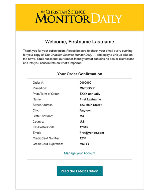 CSM Subscription Confirmation Email