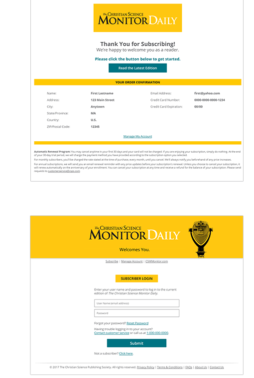 CSM Subscription Confirmation and Login Pages