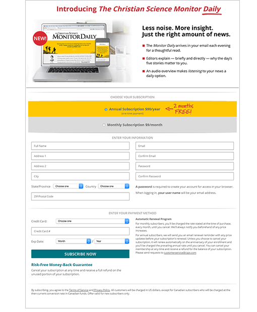 CSM Subscription Offer Landing Page
