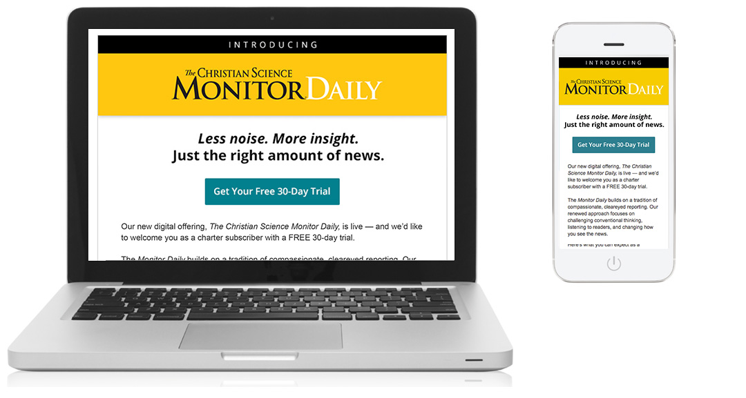 CSM Subscription Offer Email, desktop and mobile view