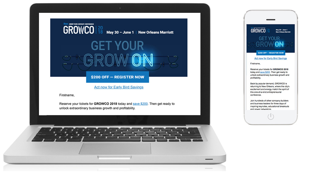 Inc. GROWCO email, desktop view and mobile view
