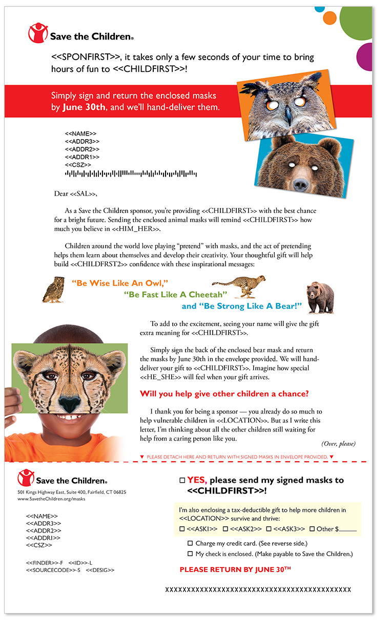 Save the Children letter