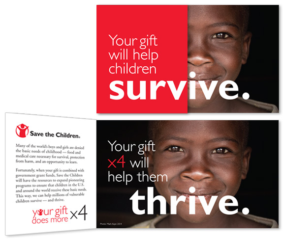 Save the Children matching campaign short-fold brochure
