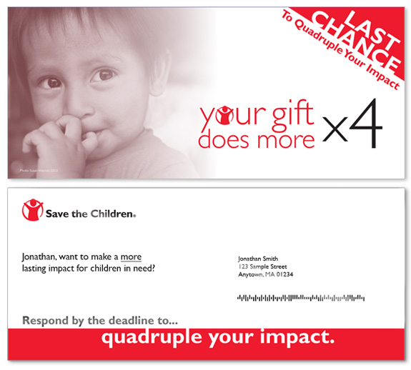 Save the Children matching campaign outer envelopes