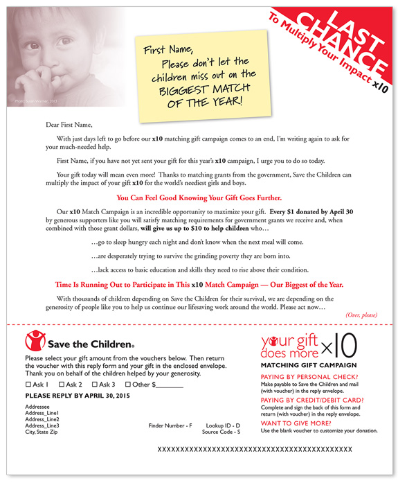 Non-profit Matching Gift Campaign Letter