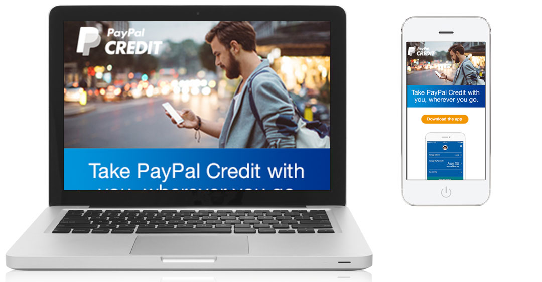 PayPal Credit Digital gifts email; desktop and mobile view